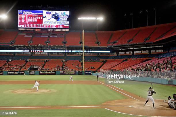 Baseball Florida Marlins Anibal Sanchez in action delivering final pitch of nohitter vs Arizona Diamondbacks Eric Byrnes View of Dolphin Stadium...