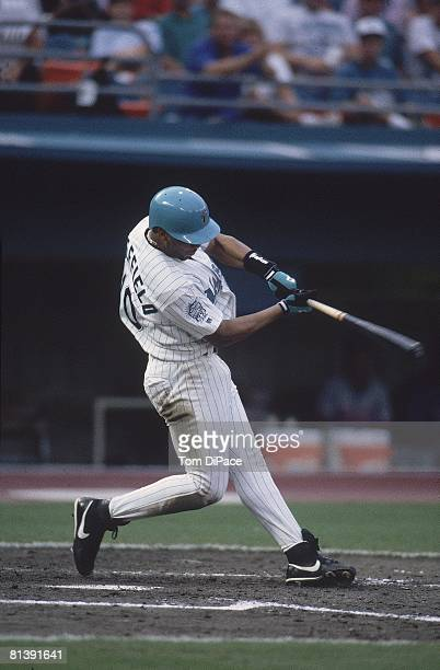 Baseball Florida Marlins Gary Sheffield in action vs Montreal Expos Miami FL 6/27/1993