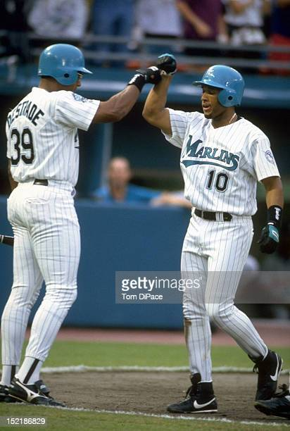 Florida Marlins Gary Sheffield victorious with Orestes Destrade during game vs Montreal Expos at Joe Robbie Stadium Miami FL CREDIT Tom DiPace