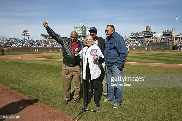 Former Chicago Cubs Billy Williams Fergie Jenkins Dutchie Caray widow of former broadcaster Harry Caray and former Chicago Bears Dick Butkus sing on...