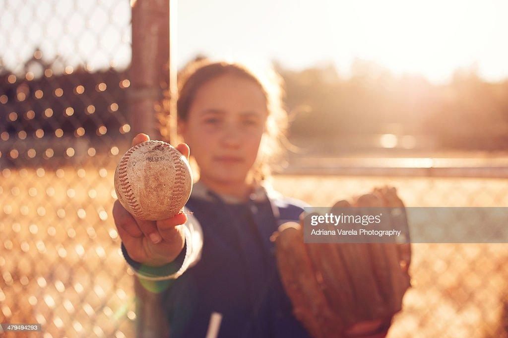 Baseball girl : Stock Photo
