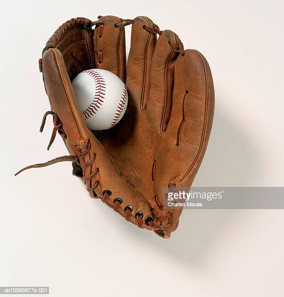 baseball glove and ball on white background - baseball glove stock pictures, royalty-free photos & images