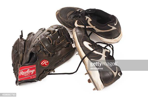baseball glove and cleats - baseball glove stock pictures, royalty-free photos & images