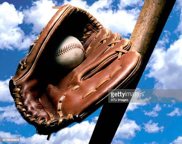 baseball glove bat clouds