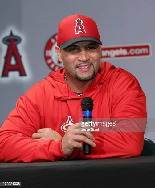 Baseball great Albert Pujols attends a press conference for the latest short film by I Am Second at Angel Stadium of Anaheim on July 2 2013 in...