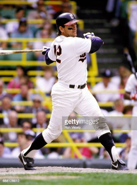 Baseball Hall of Fame catcher Carlton Fisk of the Chicago White Sox bats during an MLB game at Comiskey Park in Chicago Illinois Fisk played for the...