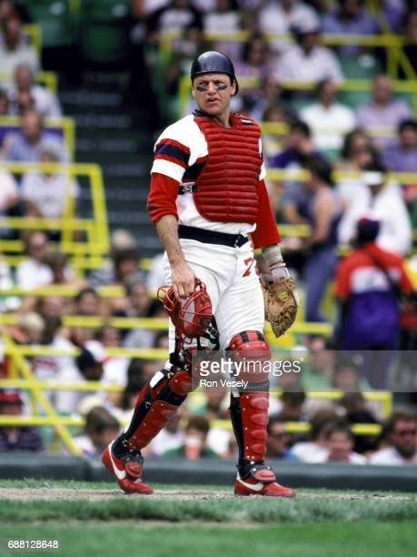 Baseball Hall of Fame catcher Carlton Fisk of the Chicago White Sox catches during an MLB game at Comiskey Park in Chicago Illinois Fisk played for...