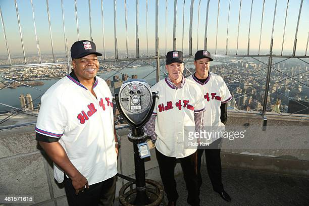 Baseball Hall of Fame Electees Frank Thomas, Tom Glavine and Greg Maddux visit at The Empire State Building on January 9, 2014 in New York City.