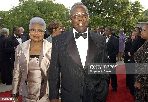 Baseball Hall of Fame member Hank Aaron and wife Billye Aaron attend the Brown v Board of Education 50th Anniversary Gala on May 17 2004 in...