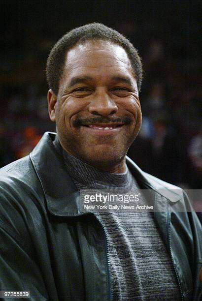 Baseball Hall of Famer Dave Winfield is on hand at Madison Square Garden to watch a game between the New York Knicks and the Minnesota Timberwolves...