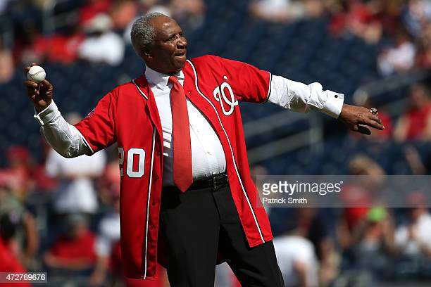 Baseball Hall of Famer Frank Robinson throws out the first pitch before the Atlanta Braves play the Washington Nationals at Nationals Park on May 9...