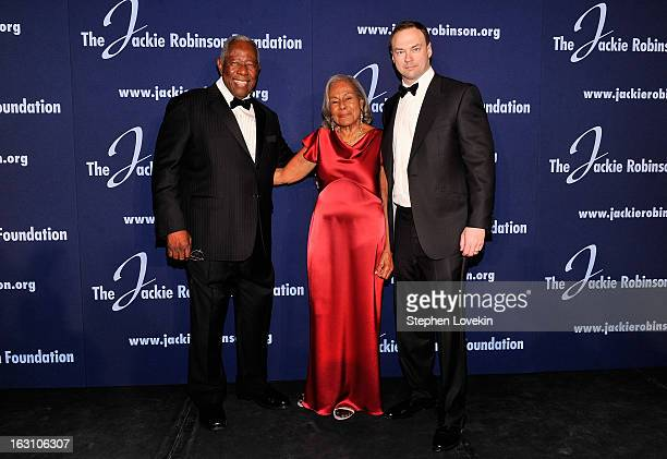 Baseball Hall of Famer Hank Aaron JRF Founder Rachel Robinson and Chairman and CEO of Legendary Entertainment Thomas Tull attend the The Jackie...