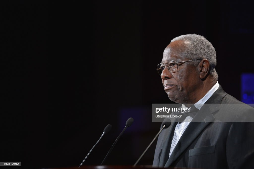 Baseball Hall of Famer Hank Aaron speaks onstage at the The Jackie Robinson Foundation Annual Awards' Dinner at the Waldorf Astoria Hotel on March 4, 2013 in New York City.