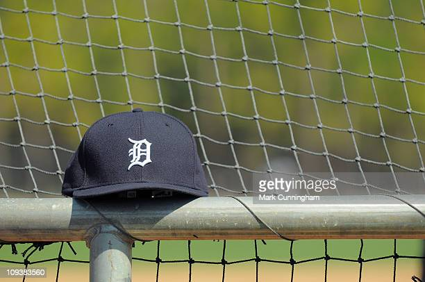 A baseball hat sits on the batting cage during the Detroit Tigers spring training workouts on February 23 2011 at the TigerTown Facility in Lakeland...