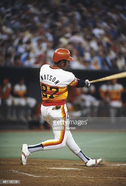 Houston Astros Bob Watson in action at bat vs Cincinnati Reds at Riverfront Stadium Cincinnati OH CREDIT John D Hanlon