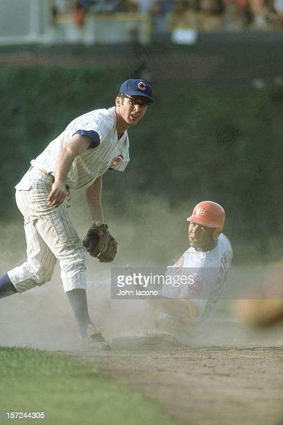 Houston Astros Bob Watson in action slide vs Chicago Cubs Glenn Beckert at Wrigley Field Chicago IL CREDIT John Iacono