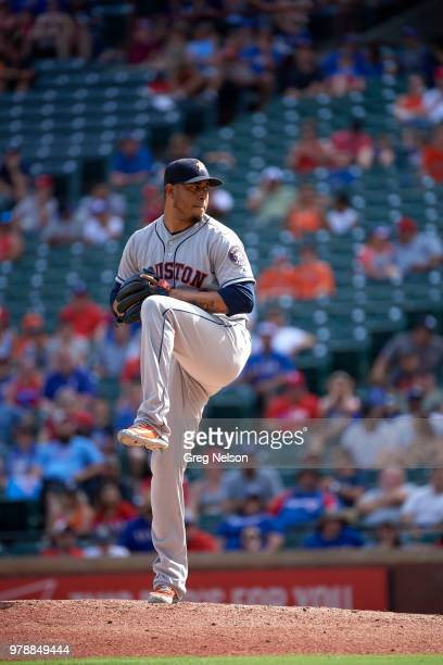 Houston Astros Hector Rondon in action pitching vs Texas Rangers at Globe Life Park in Arlington Arlington TX CREDIT Greg Nelson