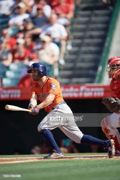 Houston Astros Jose Altuve in action at bat vs Los Angeles Angels at Angel Stadium Anaheim CA CREDIT Robert Beck