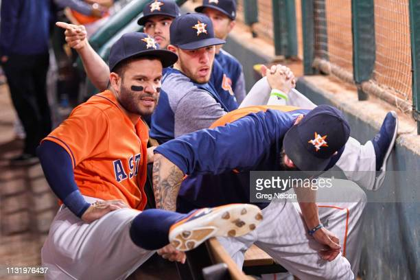 Houston Astros Jose Altuve stretching in dugout during game vs Cleveland Indians at Minute Maid Park Houston TX CREDIT Greg Nelson