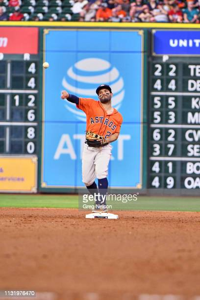 Houston Astros Jose Altuve throwing during game vs Cleveland Indians at Minute Maid Park Houston TX CREDIT Greg Nelson