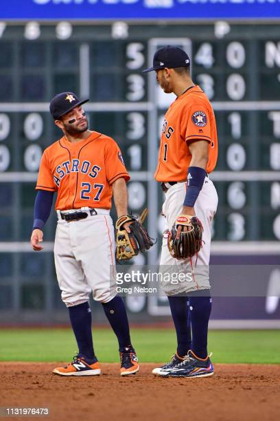 Houston Astros Jose Altuve with Carlos Correa during game vs Cleveland Indians at Minute Maid Park Houston TX CREDIT Greg Nelson