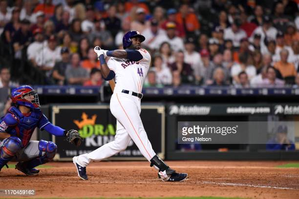 Houston Astros Yordan Alvarez in action at bat vs Texas Rangers at Minute Maid Park Houston TX CREDIT Greg Nelson