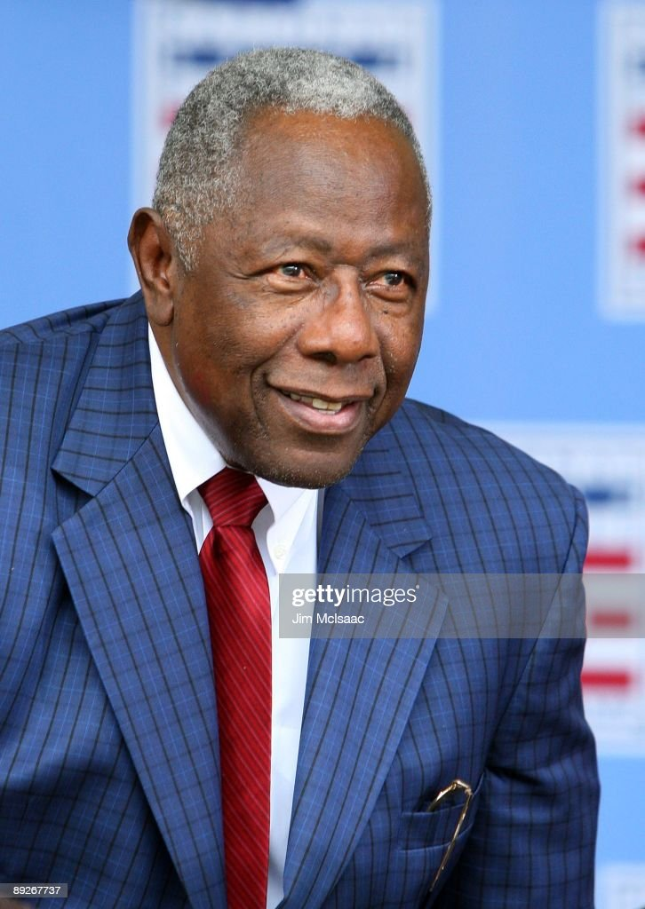 Baseball icon Hank Aaron looks on at Clark Sports Center during the 2009 Baseball Hall of Fame induction ceremony on July 26, 2009 in Cooperstown, New York.