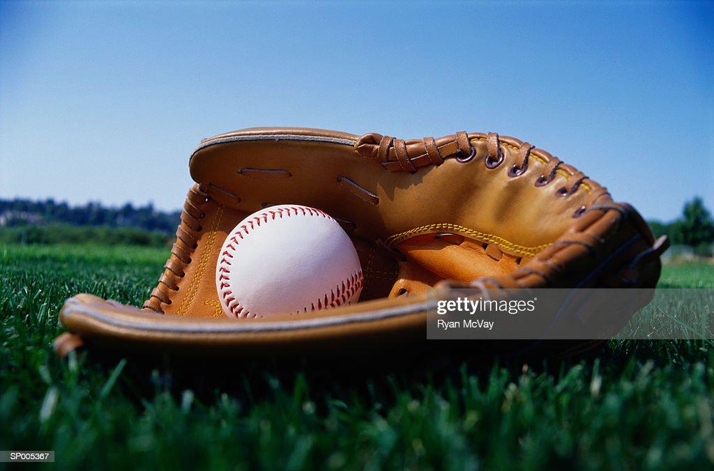 Baseball in a Glove : Stock Photo