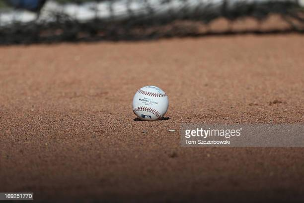 A baseball in front of the batting cage during batting practice before the Toronto Blue Jays MLB game against the San Francisco Giants on May 15 2013...