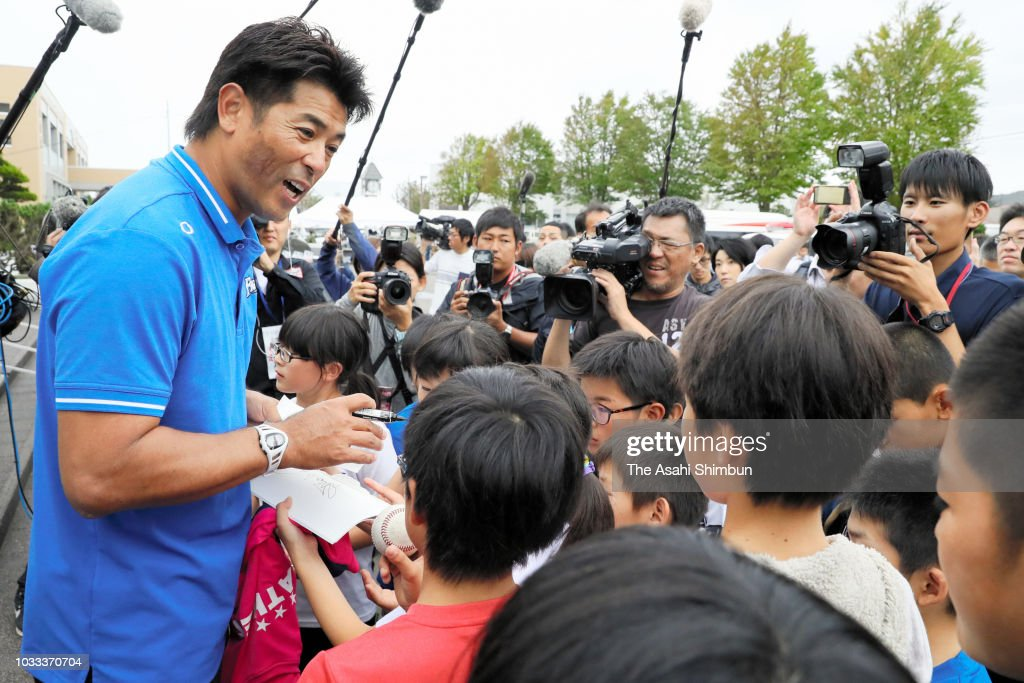 Baseball Japan national team head coach Atsunori Inaba signs autographs for young fans a week after the magnitude 6.7 earthquake on September 13, 2018 in Atsuma, Hokkaido, Japan. Concerns are rising about the health of the evacuees because prolonged life in shelters can pose serious risks. Living away from home and together with strangers puts enormous mental and physical strains on evacuees.