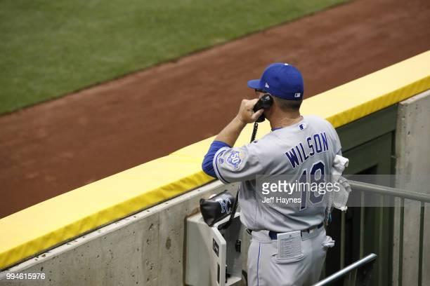 Kansas City Royals bullpen coach Vance Wilson on phone in bullpen before game vs Milwaukee Brewers at Miller Park Milwaukee WI CREDIT Jeff Haynes