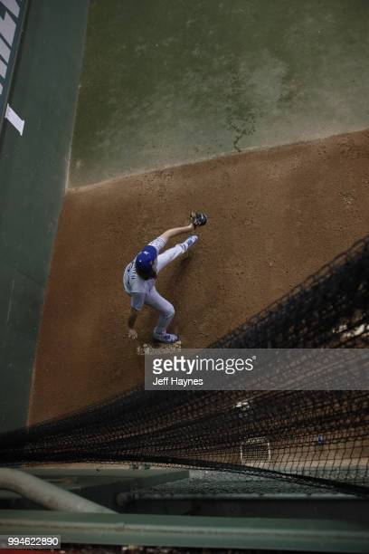 Kansas City Royals Burch Smith warming up in bullpen during game vs Milwaukee Brewers at Miller Park Milwaukee WI CREDIT Jeff Haynes