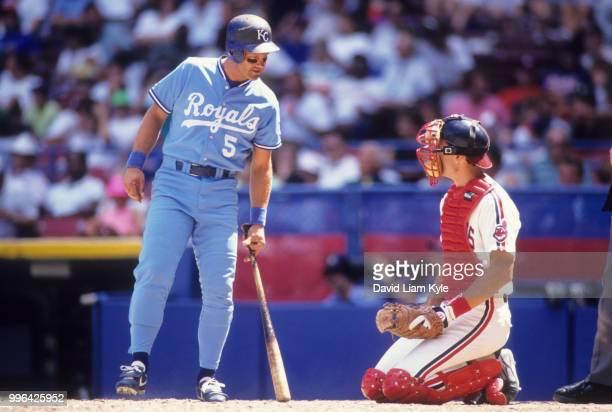 Kansas City Royals George Brett during at bat with Cleveland Indians Joel Skinner at Municipal Stadum Cleveland OH CREDIT David Liam Kyle