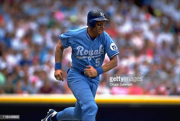 Kansas City Royals George Brett in action running bases vs Cleveland Indians at Municipal Stadium Cleveland OH CREDIT Chuck Solomon