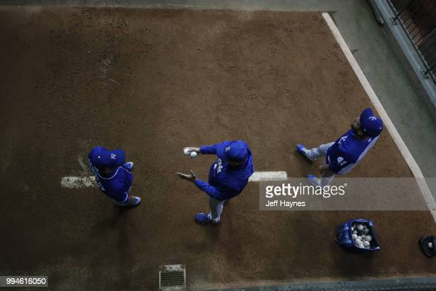 Kansas City Royals Ian Kennedy and Danny Duffy warming up in bullpen before game vs Milwaukee Brewers at Miller Park Milwaukee WI CREDIT Jeff Haynes