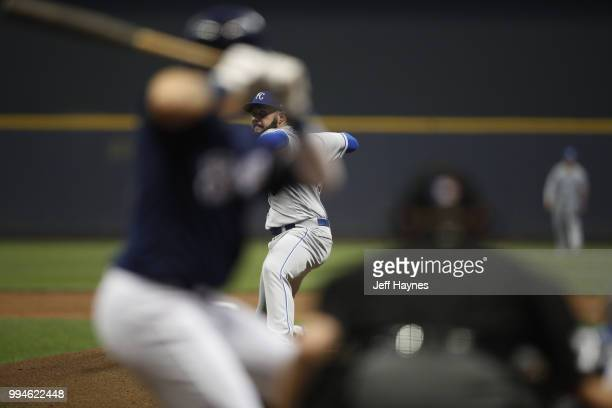 Kansas City Royals Jakob Junis in action pitching vs Milwaukee Brewers at Miller Park Milwaukee WI CREDIT Jeff Haynes