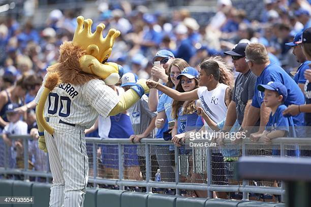 Kansas City Royals masot Sluggerrr on field with fans in stands before game vs New York Yankees at Kauffman Stadium Kansas City MO CREDIT David Eulitt