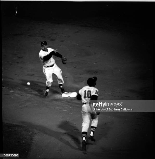 Baseball LA Angels versus Cleveland Indians 24 May 1961 Jerry CasaleRockey Bridges Supplementary material reads 'Wrigley Field 435 East 42nd Place...