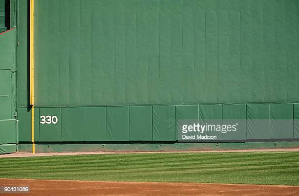 baseball left field wall, fenway park. - home run stock pictures, royalty-free photos & images