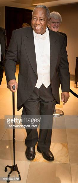 baseball legend Hank Aaron arrives at the Gridiron Club Dinner at the Renaissance Hotel in Washington DC on March 14 2015 The annual dinner is a...