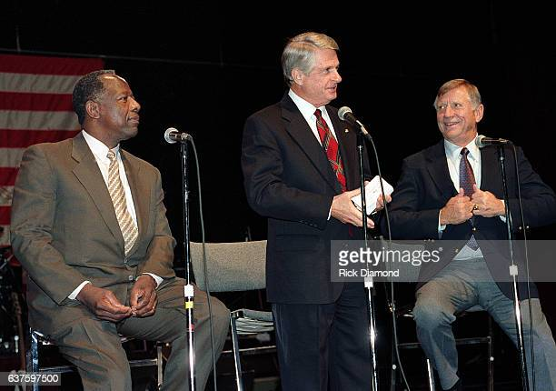 Baseball Legends Hank Aaron And Mickey Mantle hold Fund Raiser for Georgia Governor Zell Miller at The Georgia World Congress Center in Atlanta...