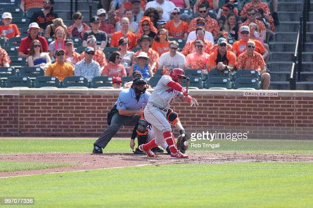 Los Angeles Angels Luis Valbuena in action at bat vs Baltimore Orioles at Oriole Park at Camden Yards Baltimore MD CREDIT Rob Tringali