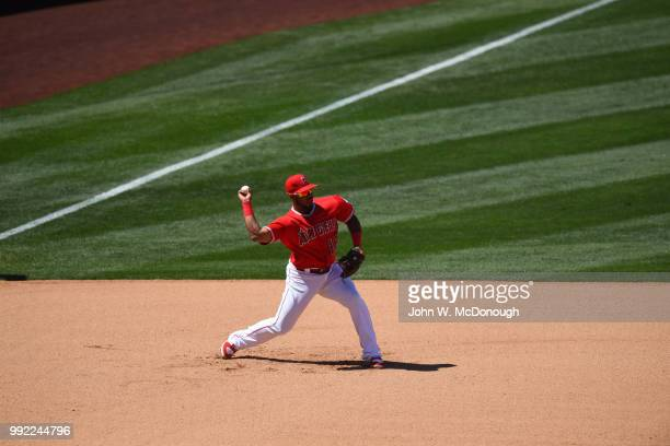 Los Angeles Angels Luis Valbuena in action throwing vs Toronto Blue Jays at Angel Stadium Anaheim CA CREDIT John W McDonough