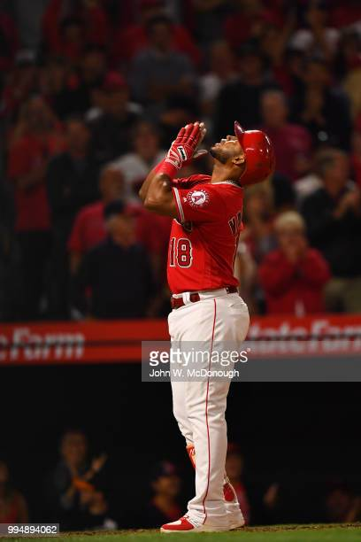 Los Angeles Angels Luis Valbuena victorious during game vs Toronto Blue Jays at Angel Stadium Anaheim CA CREDIT John W McDonough