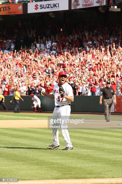 Baseball Los Angeles Angels of Anaheim Francisco Rodriguez victorious after winning game and clinching AL West vs Seattle Mariners Anaheim CA...