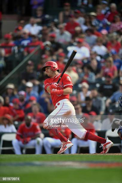 Los Angeles Angels of Anaheim Ian Kinsler in action at bat vs Texas Rangers during spring training game at Tempe Diablo Stadium Tempe AZ CREDIT...