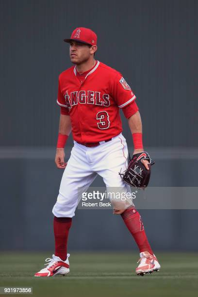 Los Angeles Angels of Anaheim Ian Kinsler in action fielding vs Texas Rangers during spring training game at Tempe Diablo Stadium Tempe AZ CREDIT...