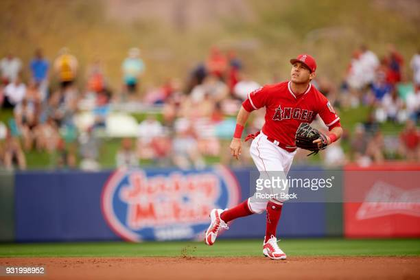 Los Angeles Angels of Anaheim Ian Kinsler in action fielding vs San Francisco Giants during spring training game at Tempe Diablo Stadium Tempe AZ...