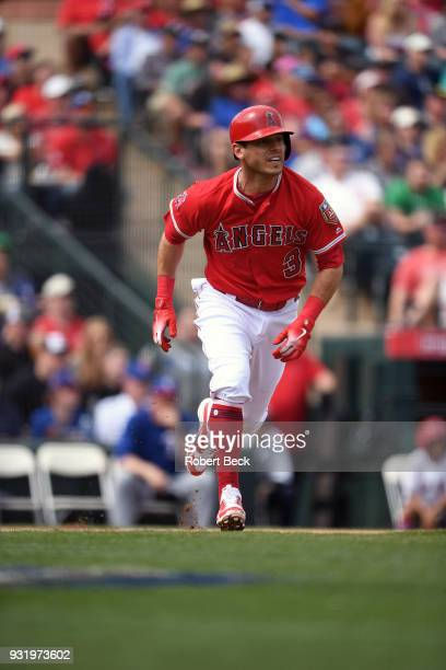 Los Angeles Angels of Anaheim Ian Kinsler in action running bases vs Texas Rangers during spring training game at Tempe Diablo Stadium Tempe AZ...