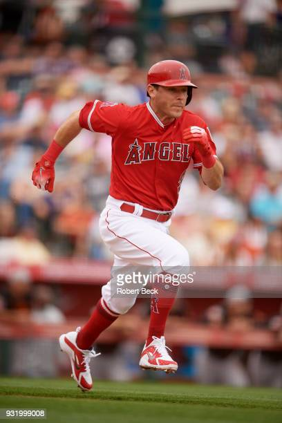 Los Angeles Angels of Anaheim Ian Kinsler in action running bases vs San Francisco Giants during spring training game at Tempe Diablo Stadium Tempe...